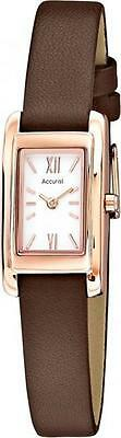 Accurist LS643 Ladies Rose Gold Plated Watch Genuine Leather Strap RRP £60.00