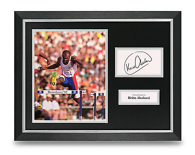 Kriss Akabusi Signed Photo Framed 16x12 Olympics Autograph Memorabilia Display