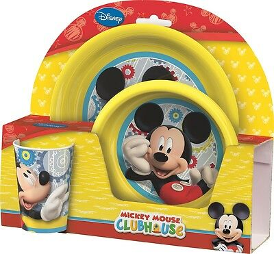 Disney Mickey Mouse Clubhouse Yellow Melamine Tumbler, Bowl & Plate Mealtime Set