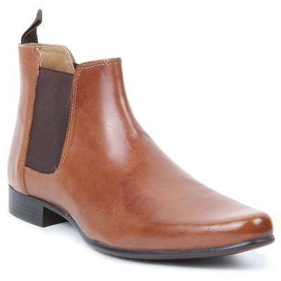 Mens Gentleman Slip On Genuine Leather Western Heel Pointed Toe Chelsea Boots