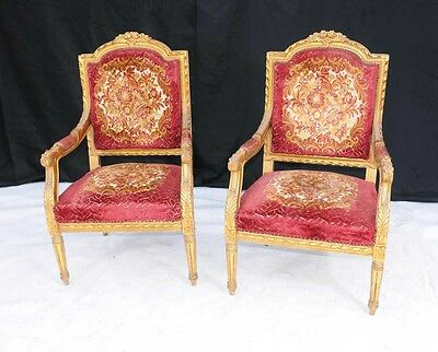 Pair French Louis XV Gilt Arm Chairs Fauteils Armchair