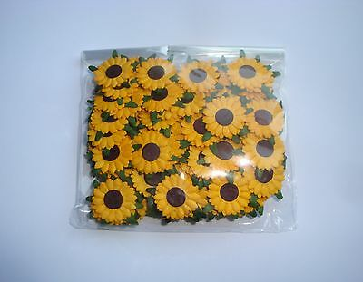 100 YELLOW SUNFLOWER HEADS with LEAVES (no stems) - 2.25cm