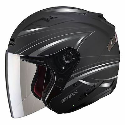 Matte Black Of77 Cruiser Motorcycle Helmet Retractable Sun Visor Full Shield