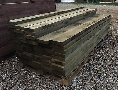 "New Tanalised Railway Sleepers Green 200 X 50 2.4M (8Ft 8""x2"") Timber"