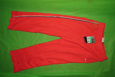 Nike red pink Little Girls cotton tracksuit training trousers bottoms 7/8 years