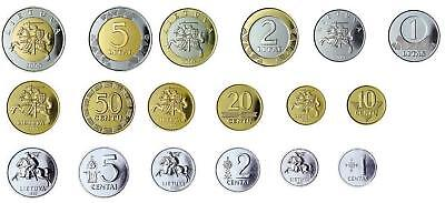 LITHUANIA 9 coins set from 1 centas to 5 Litas 1991 - 2013 UNC