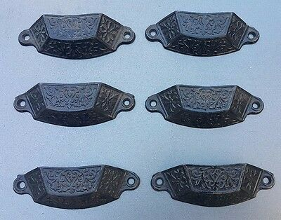 Lot of 6 antique Cast Iron ornate drawer pulls Victorian  4'' wide