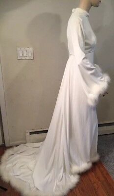 Vtg 1960s Wedding Bridal Empire Gown Dress Pearls Maribou Feather Train Ivory Sm