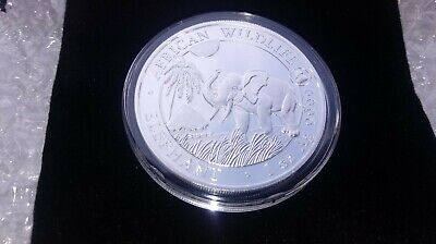 2017 1oz Fine Silver African Wildlife Elephant Coin ROOSTER privy w/Cap & Pouch