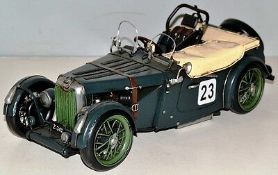MG TC um 1950 Vintage Tin Car Vintage Metal Model Tin Model Car 30 cm 37695