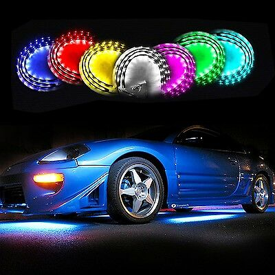 Zone Tech 7 Color LED Under Car Glow Underbody System Neon Lights Kit w/Sound...