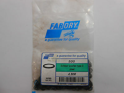"500 x 4mm FABORY SCHNORR WASHER TYPE S (STEEL) M4 ""NEW"" #1"