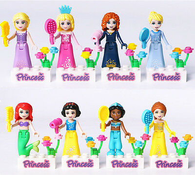 8pcs Disney Princess Frozen Mini figures Building Blocks Girls Toy Xmas Gift