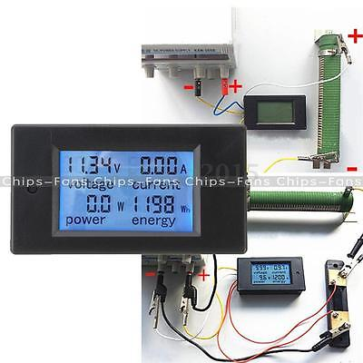 20A DC Digital LCD Power Panel Meter Monitor Power Energy Voltmeter Ammeter