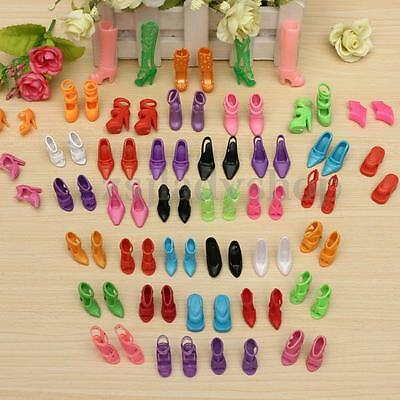 40 Pairs High Heel Sandals Shoes For Barbie Doll Toy Princess Dress Clothes New