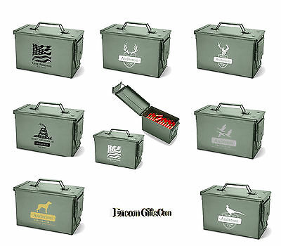 Personalized Vintage Military Style Metal Ammo Storage Ammunition Box Army Can
