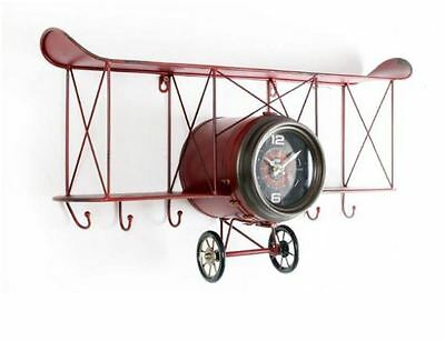 Shabby Chic Red Iron Aero Plane Shape Wall Clock With Shelf And Hooks Home Decor