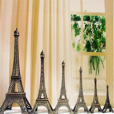 Bronze Tone Paris Eiffel Tower Figurine Statue Vintage Model Decor Alloy 7Size G