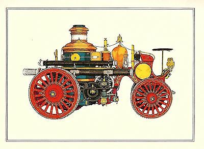 Old Hose FIRE ENGINE Fancy Design Parade Carriage Vintage 1970  MATTED Picture