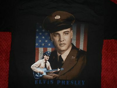 """Amazing 2002 Elvis Presley Young ARMY photos on Black T-Shirt AAA sz L 42""""chest"""