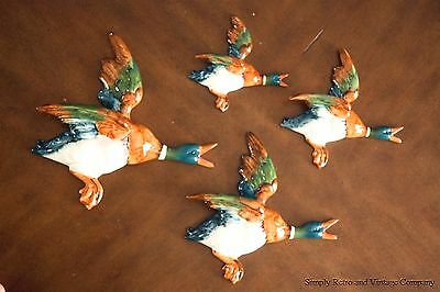 Beswick Set Of 4 Mallard Flying Wall Ducks Excellent Condition 1950's