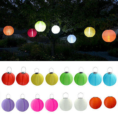 2X 30cm Solar Powered 5050 SMD LED Light Bulbs Waterproof Chinese Lantern Garden