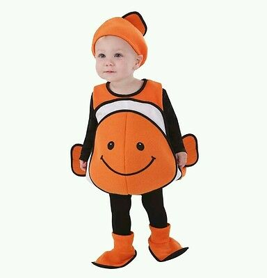 Clown Fish Vest Toddler Halloween Costume Body, Hat & Shoes 1-2 Years NEW