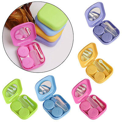 Pocket Mini Contact Lens Case Travel Kit Easy Carry Mirror Container Holder