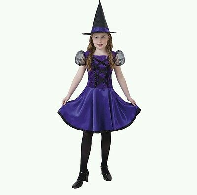 Violet Witch Girls Halloween Costume Dress & Hat Small NEW