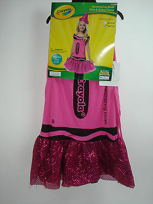 Pink Crayola Crayon Girls Halloween Costume Dress & Hat Small 4-6X NEW