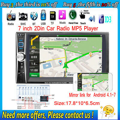 HD 7'' Autoradio Táctil Bluetooth Stereo MP3 MP5 Player AUX/GPS/USB/Remoto 2DIN
