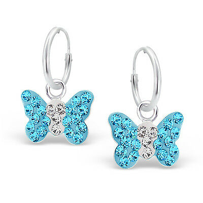 925 Sterling Silver Crystal Blue Butterfly Sleeper Hoop Earrings Kids Girls Gift