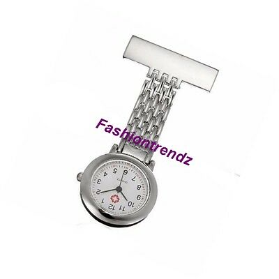 Stainless Steel Unisex Docrtor Nurse Watch Brooch Tunic Fob Watches With BATTERY