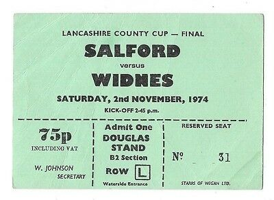 1974 - Salford v Widnes, Lancashire County Cup Final Match Ticket.
