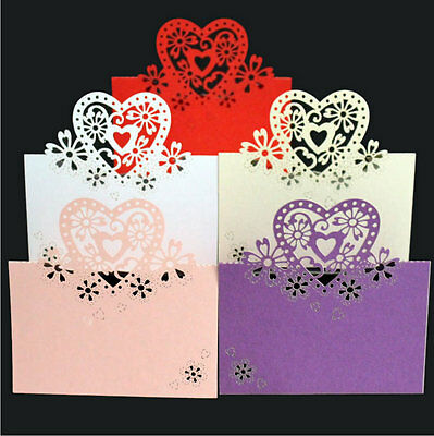 25/50/100 Wedding Party Pearlescent Laser Cut Love Hearts Place Cards Table Name