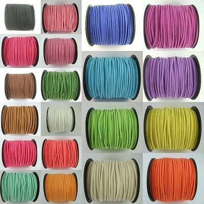 5/100Yards 2.5mm Faux Suede Cord Flat Leather Cord Bracelet Necklace Rope C3S