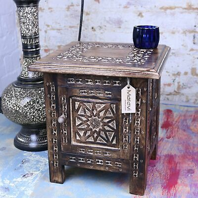 Small Square Side Table Moroccan Style Carving Storage Compartment Hand Carved