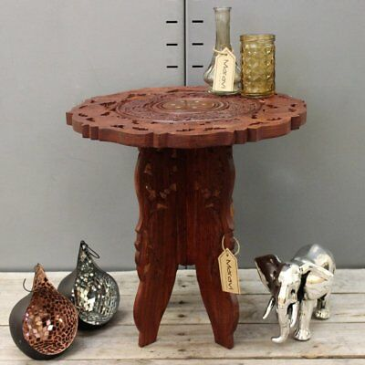 Small Side Table Wooden Round Coffee Lamp End Brown Hand Carved Indian Home 37cm