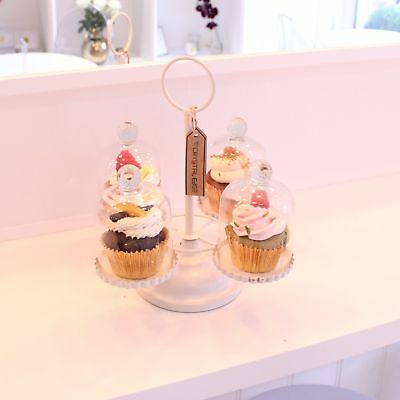 4 Cupcake Stand Each with Individual Glass Dome Metal Base Cake Making Quad