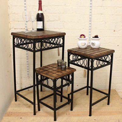 Set of 3 Occasional Side Tables Square Mango Wood and Iron Nest Table Handmade