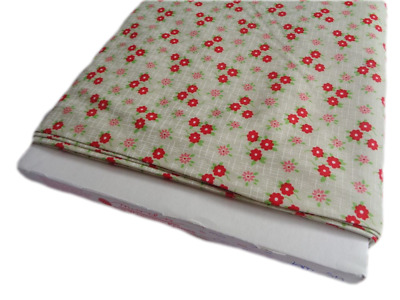 FQ Christmas Fabric star flower tan beige red floral craft cotton per 1//4 metre
