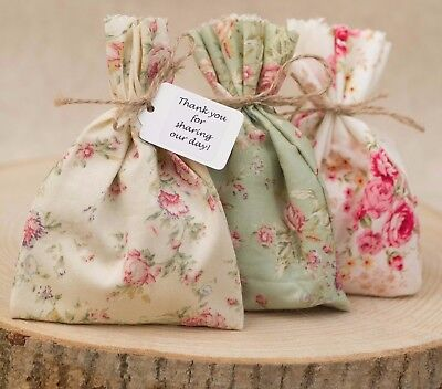 Shabby Chic Vintage Style Pink Floral X 3 Wedding Favour Bags Personalised 1-100