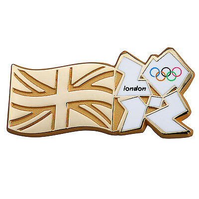 Official London 2012 Gold Union Jack And Olympic Logo Pin