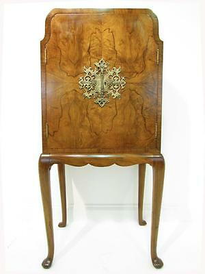 A Neat Antique Burr Walnut Drinks Cocktail  Cabinet