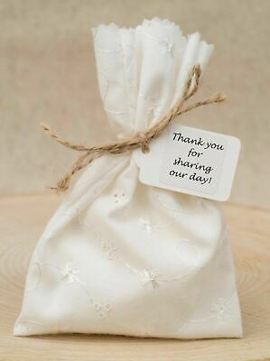 Wedding Favour Bags Cream Broderie Anglaise Shabby Chic Embroidered Personalised