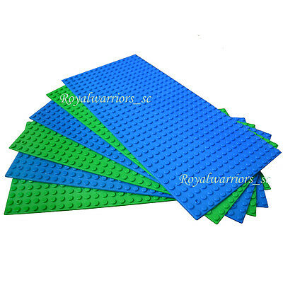 "6pcs Green Blue Base plate Base board for Lego figure Brick Building  5""x10"""