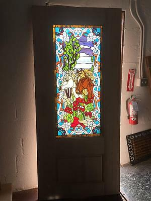 "Beautiful 36"" X 80"" Custom Solid Mahogany Stained Glass Door With Horses"