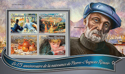Togo 2016 MNH Pierre-Auguste Renoir 175th Birth Ann 4v M/S Art Paintings Stamps