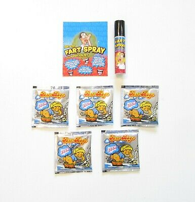 1 Can Of Fart Spray & 5 Fart Bomb Bags  Combo  Stinky Smelly  Gag Gift Prank