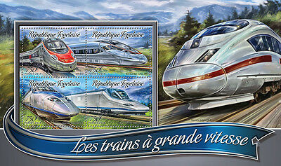 Togo 2016 MNH High-Speed Trains 4v M/S Bombardier Zefiro Talgo Railways Stamps